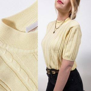 Vintage cable knit shirt short sleeve sweater